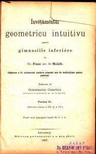 Mocnik_Franz. Invetamentul geometric intuitive. Partea II. Cernauti (Чернiвцi), 1887