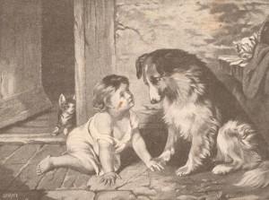 Картинка з теми Діти та тваринини для письмових творів та бесід Т.Г. Лубенця